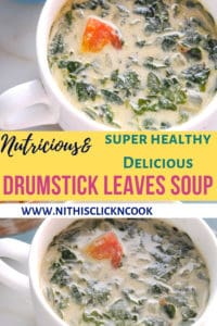 Drumstickleaves soup served in soup bowl