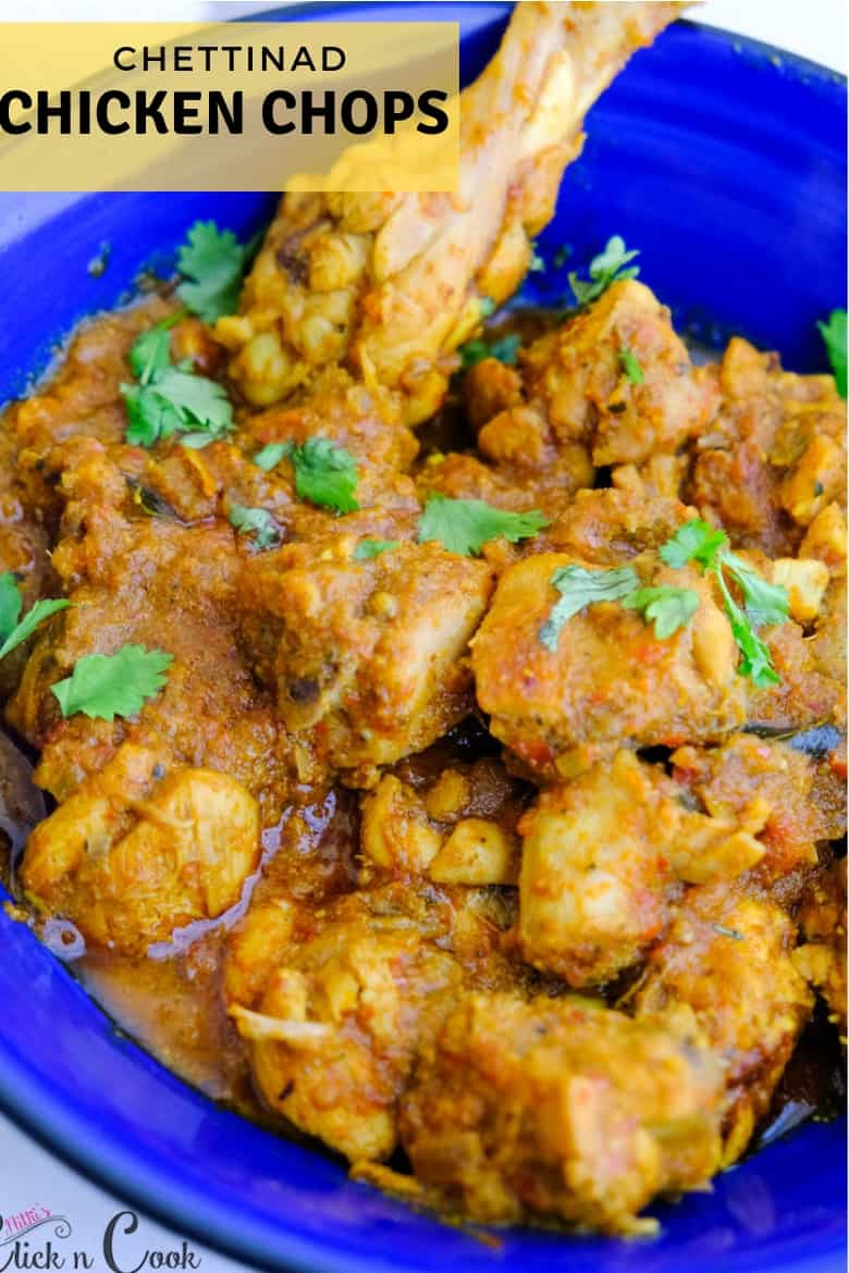 close up shot of chettinad chicken chops served in blue bowl.