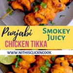 chicken tikka is threaded in chicken skewers served in plate with sliced onions and lemon