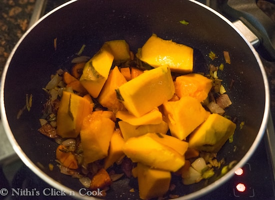 Add the chopped Squash, saute them for 3mins meanwhile you can make a vegetable stock