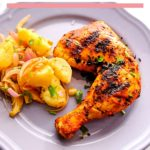 grilled chicken served in grey plate