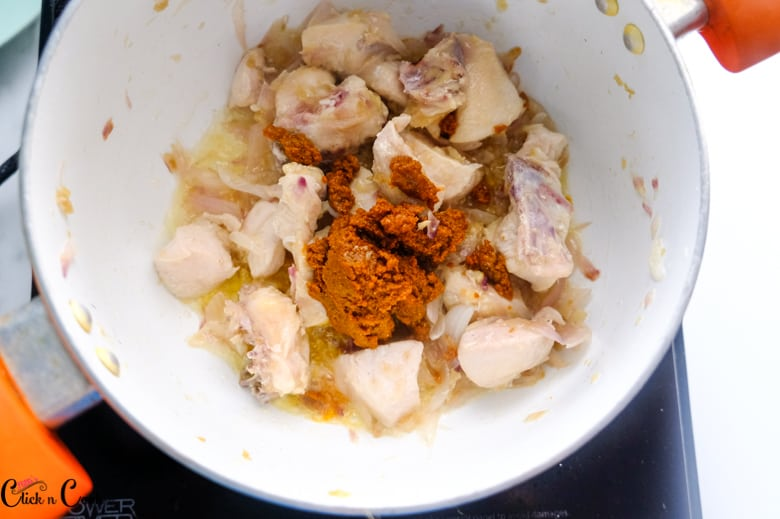 chicken, onion and spices are in saute pan