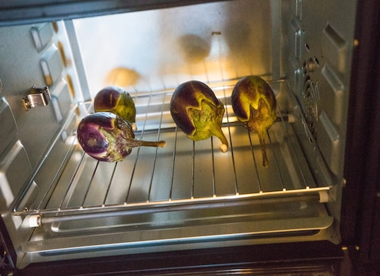 Place the the brinjal in the pre-heated oven for 20 minutes