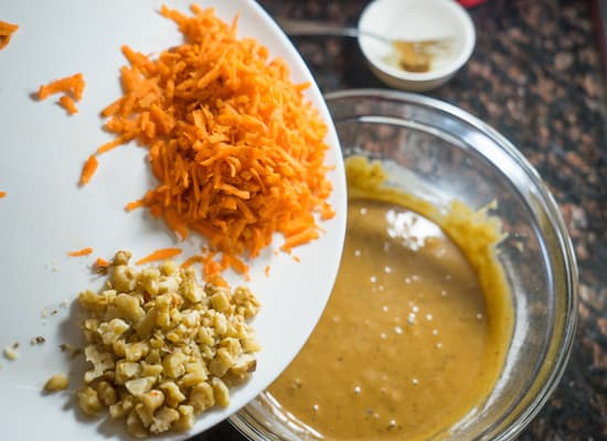 Add in grated carrot chopped walnuts.