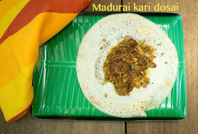 Madurai Kari Dosa Recipe | Chicken Kheema Dosa Recipe