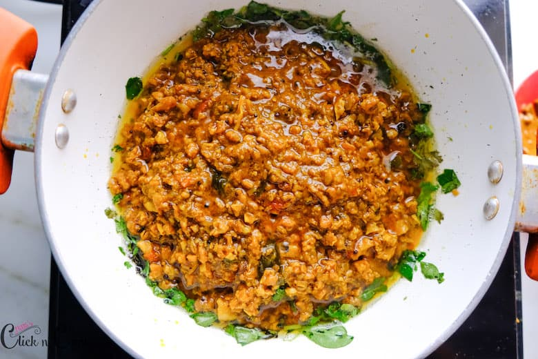 minced mutton is added to the saute pan