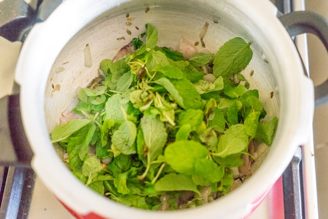 Add in mint leaves. saute for a minute.