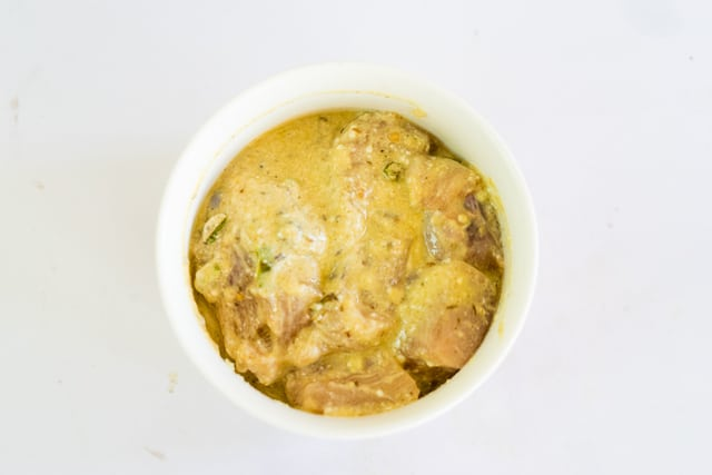 marinate the chicken for Thread the chicken onto a skewers and grill on a hot oven at 200 degree C for 15 to 20 minutes till tender.