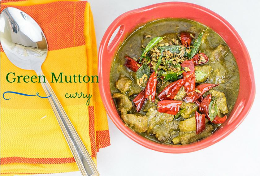 Green Mutton Curry in a Bowl