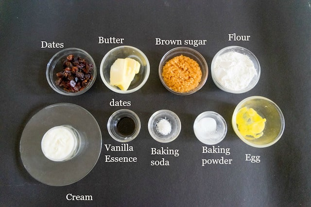 Ingredients are taken in small glass bowls to make sticky toffee pudding