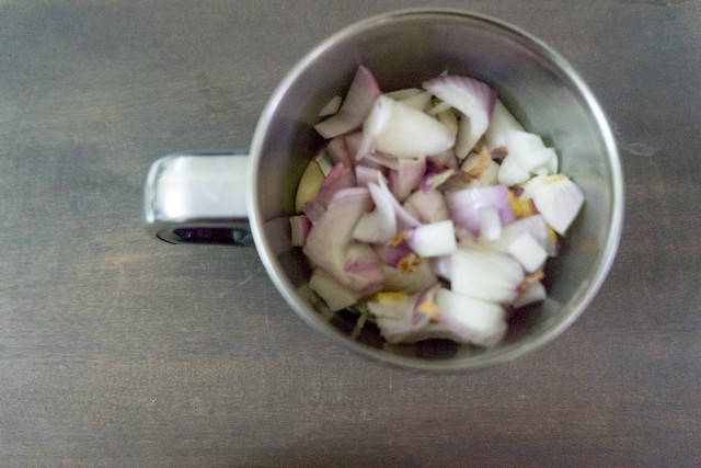 Meanwhile puree onion and garlic