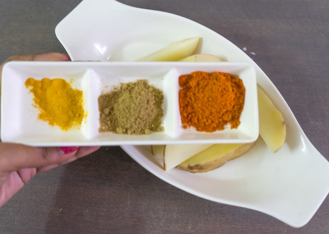 Add our spice powder coriander powder, chilli powder, turmeric powder