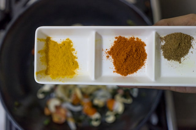 Add our spice powders i have taken chilli powder, turmeric powder, garam masala..