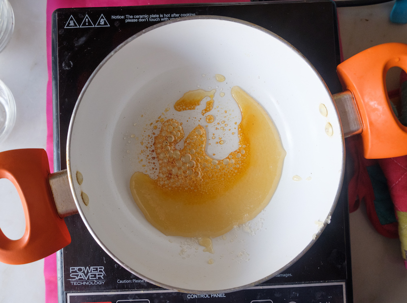 Sugar is heated up, it has turned down to amber colour