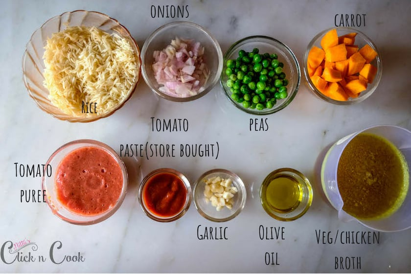 Ingredients list to prepare mexican rice