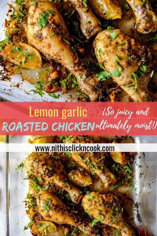 These Lemon Garlic Chicken Drumsticksare marinated with homemade flavorful spices makes it ultimately moist, tender and succulents! Quick for your Dinner! #lemongarlicchicken #chickendrumstick