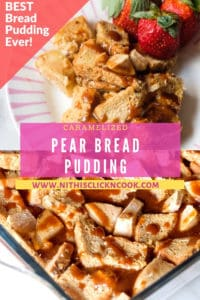 caramelized pear bread pudding in white plate served with strawberry