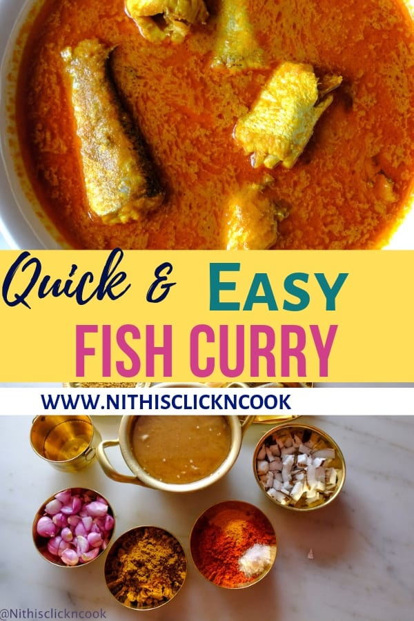 This Easy Fish curry is ultimately quick to make with minimalist pantry ingredients, lusciously creamy, spicy, bursting of flavors. #Fishcurry #meenkuzhambu #fishcurryrecipe