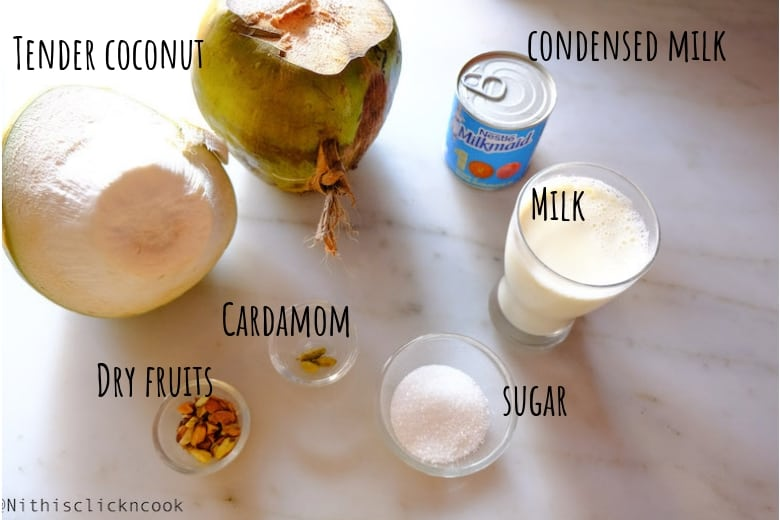 ingredients to make tender coconut kheer is displayed