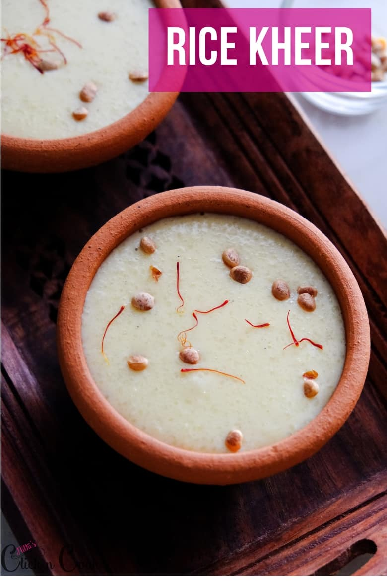 Saffron Rice Kheer is served in small mud pot