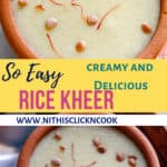 Rice Kheer served in small mud pot sprinke with saffron