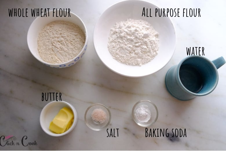 Ingredients to make flour tortillas are taken in small bowl