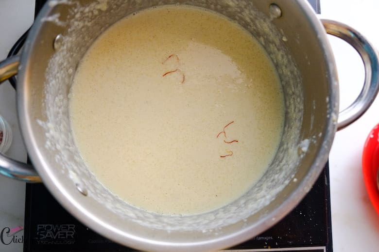 Few threads of saffron is added to rice kheer