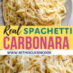 carbonara pasta served in plate with grated cheese on top
