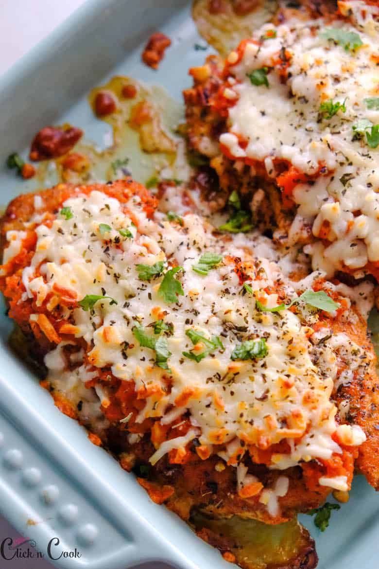 close up shot of chicken parmesan recipe