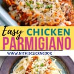 chicken parmiagiana served in plate with sphagetti
