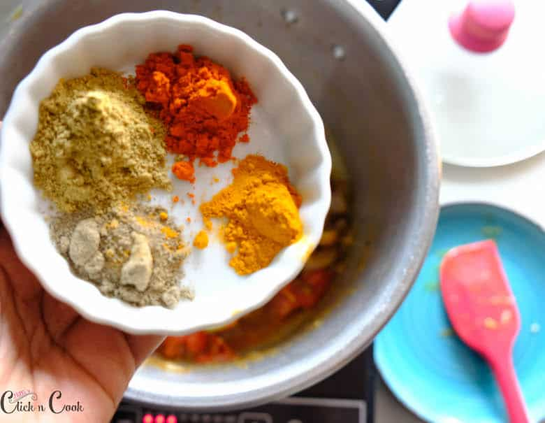 spice powders are being added to deep pot