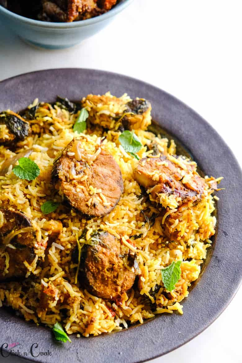 close up shot of fish biryani recipe served in plate