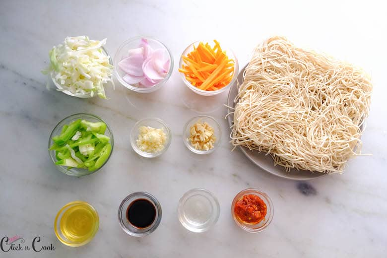 ingredients to make veg Hakka Noodles are taken in small bowl