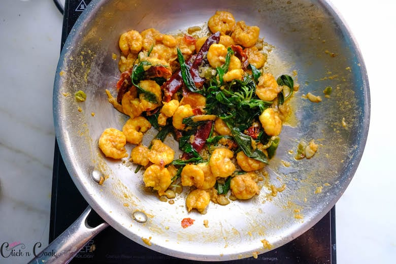 Thai Basil shrimp is wide saute pan