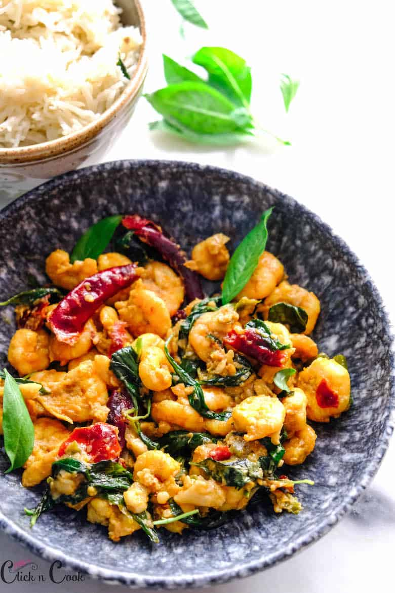 Thai Basil shrimp is served in grey bowl