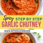 garlic chutney served in bowl