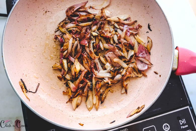 onions turns brown in wide pan