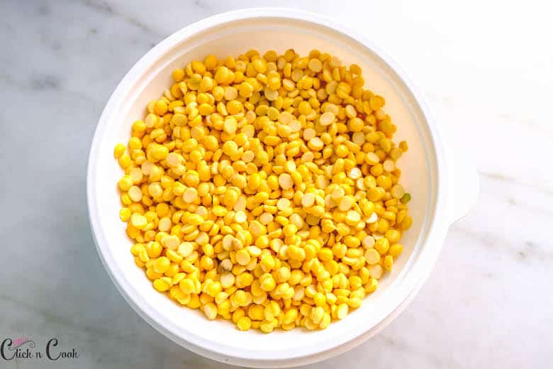 channa dal is kept in white bowl