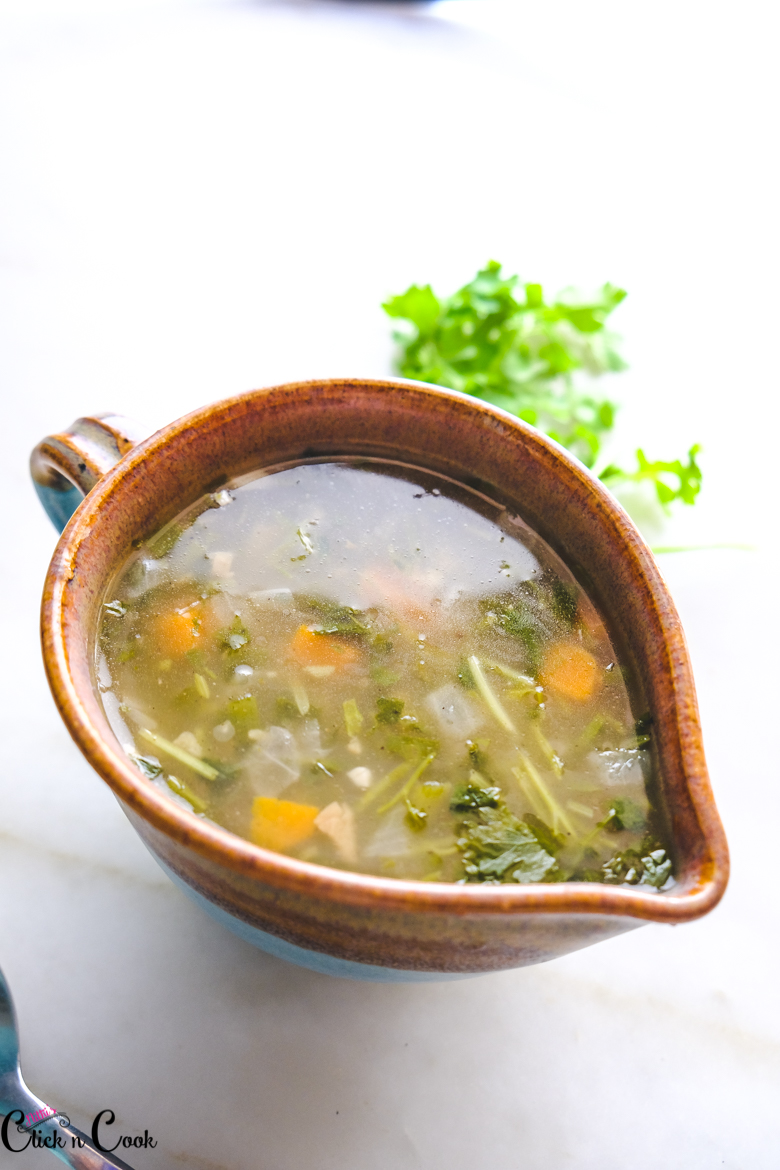 lemon coriander soup recipe is served in bowl