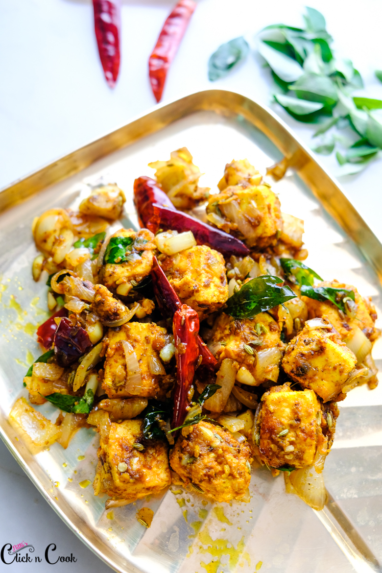 paneer tikka southindian style is served in plate