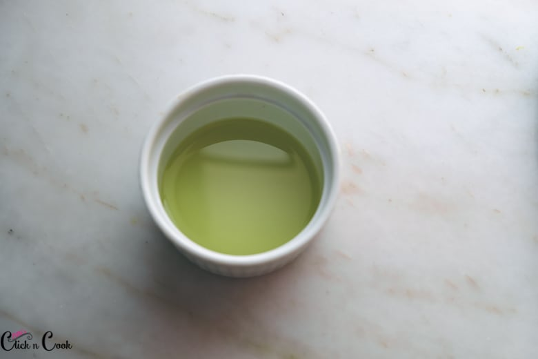 olive oil in a small ceramic bowl