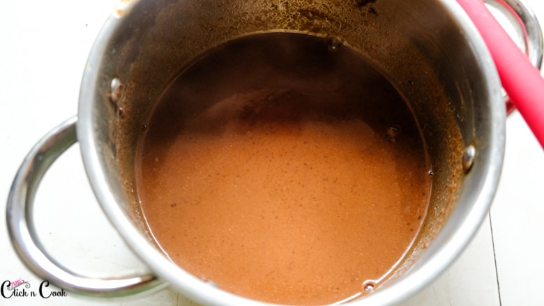 hot chocolate in sauce pan