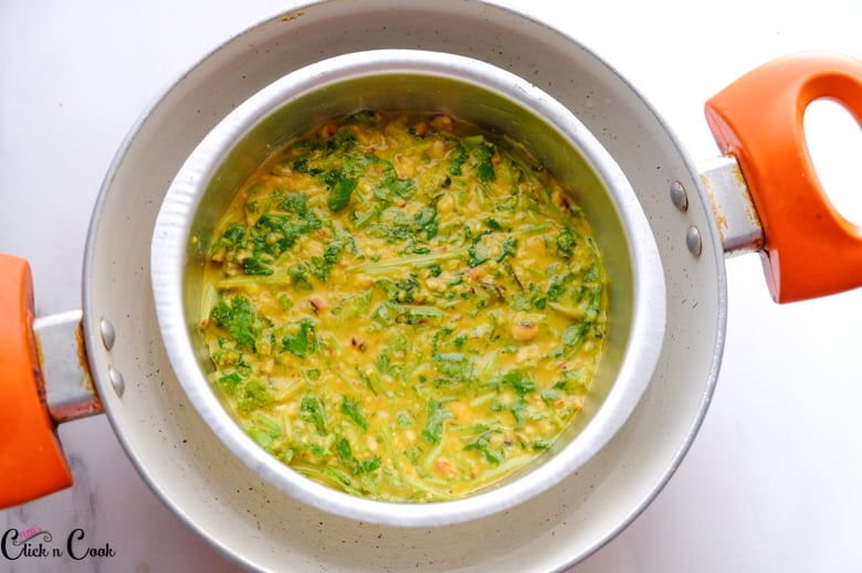 mould tin with gramflour batter is kept on the saute pan