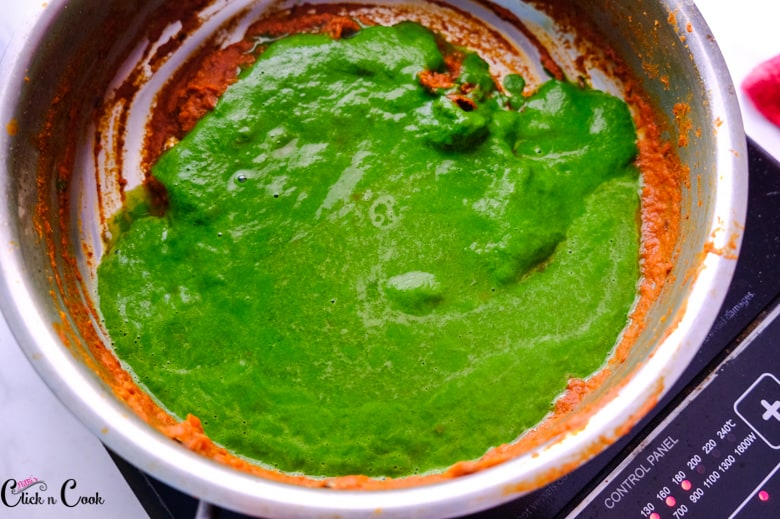 spinach puree in saute pan