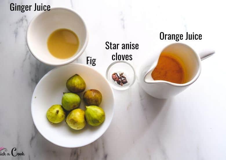 Figs, orange juice, ginger juice are taken in small bowls