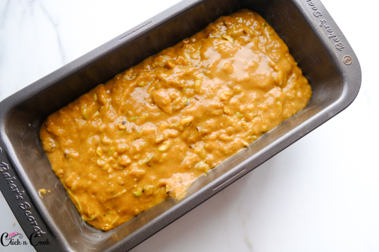 zucchini batter is in loaf pan