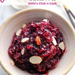 beetroot halwa served in bowl