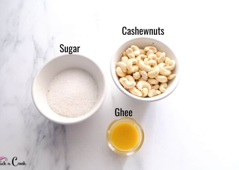 cashews, sugar and ghee are in glass bowls