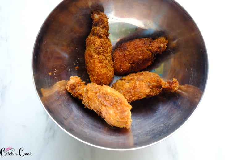 chicken wings recipe in steel mixing bowl
