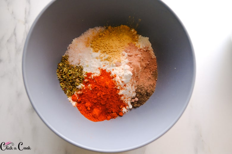spices and flour in a grey bowel